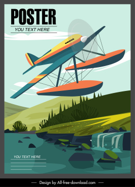 flying boat poster template flying sketch