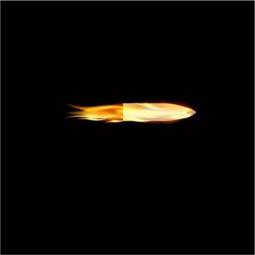 Flying bullet with flame