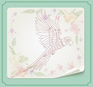 flying parrot sketch colorful flora background decor