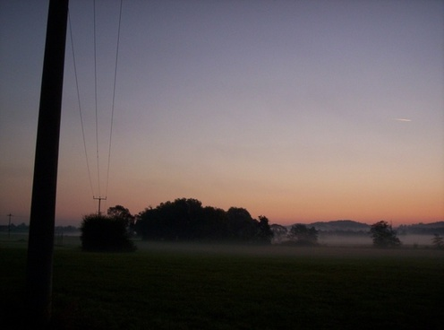 fog sunrise landscape