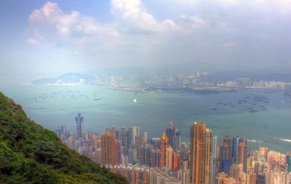 foggy day over hong kong china