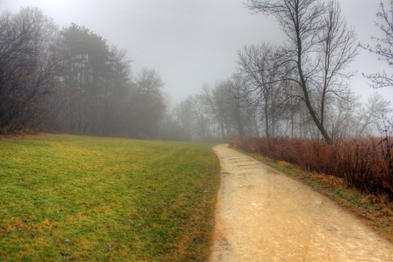 foggy hiking path in madison wisconsin