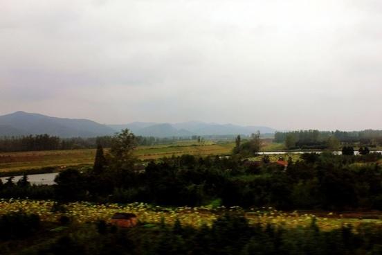 foggy hills in anhui china