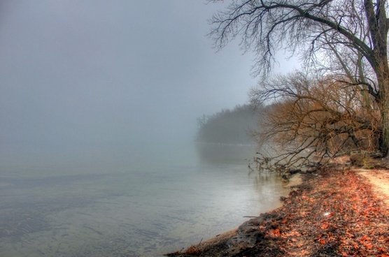 foggy lakeshore in madison wisconsin