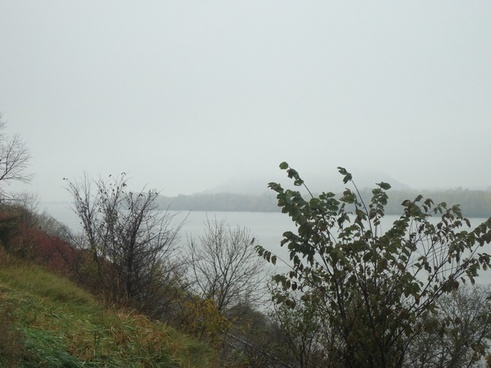 foggy mississippi at great river bluffs state park minnesota