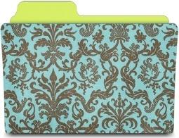 Folder damask turquoise
