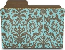 Folder damask turquoisey