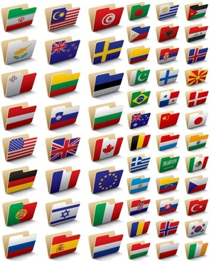 folder icon 60 national flag vector