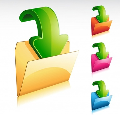 folder icon templates shiny colorful modern 3d design