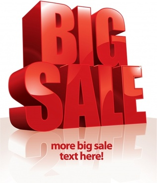 big sale banner 3d red capital texts decor