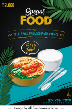 food advertising banner colorful classical elegant decor