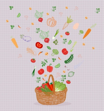 food background basket falling vegetables icons classical design