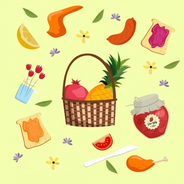 food background basket fruit jam sausage icons decor