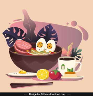 food background template noodle drink sketch classical design