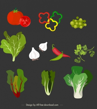 food background vegetables ingredients icons colorful decor