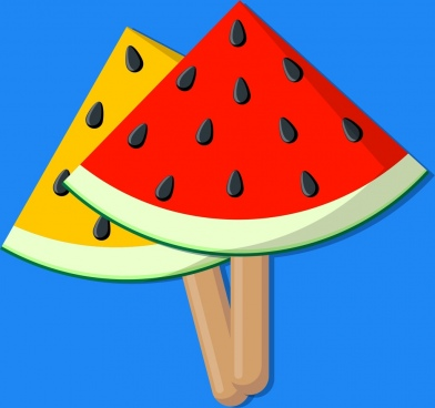 food background water melon ice cream icons