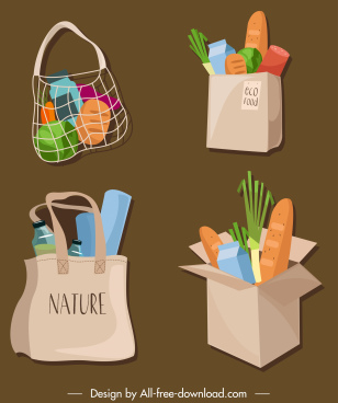 food bag icons colorful classic 3d sketch