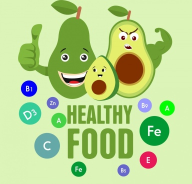 food banner funny stylized avocado icons decoration