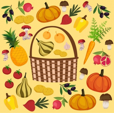 food basket background multicolored classical decor