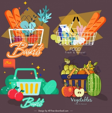food basket icons dark colored classical design