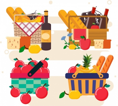 food baskets icons multicolored design