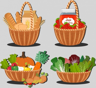 food baskets isolation bread jam vegetables icons
