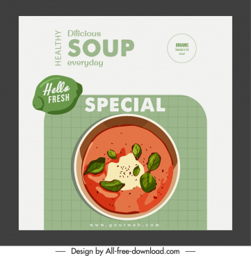 food brochure cover template soup sketch classic design