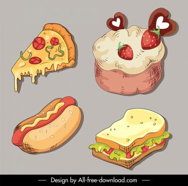 food design elements pizza hotdog sandwich cakes sketch