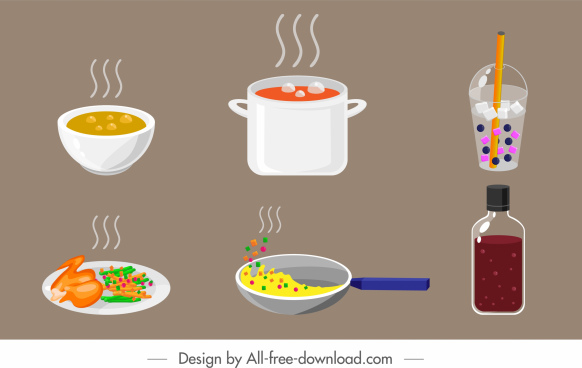 food drink icons colored calssical sketch