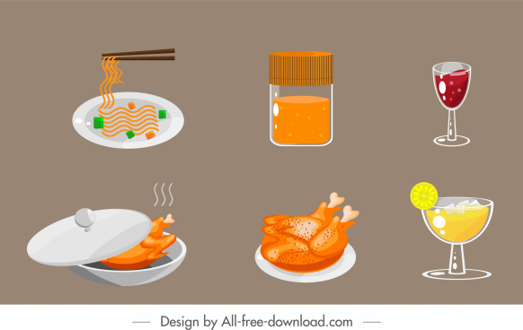 food drink icons colored classical design