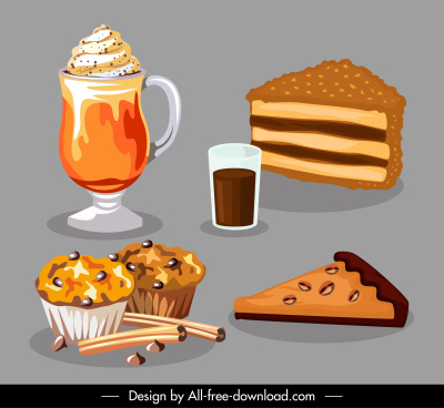food drink icons colored classical sketch