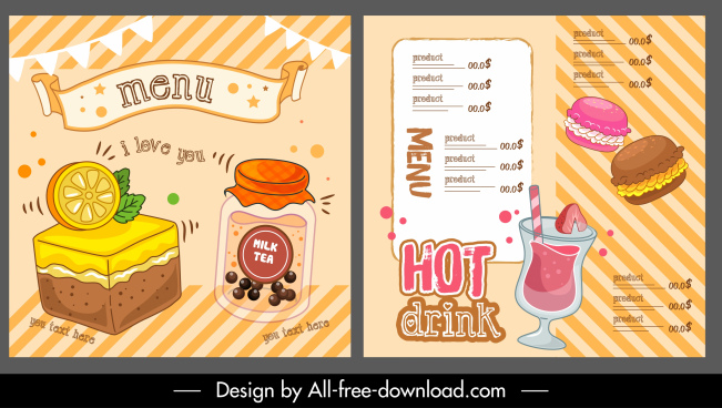 food drink menu template colorful dynamic handdrawn design