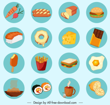 food drinks signs icons colorful classic sketch circle isolation