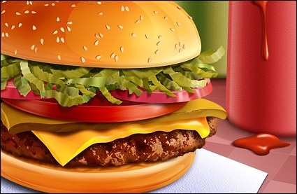 food hamburgers psd layered