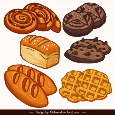 food icons classical handdrawn bread cake sketch
