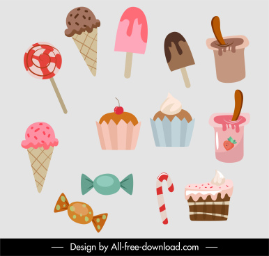 food icons classical ice cream cupcake candies sketch
