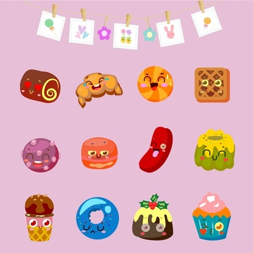 food icons collection with cute emotion illustration