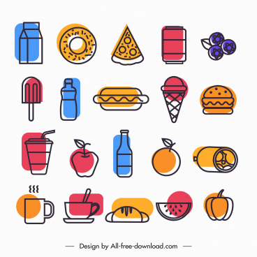 food icons colored flat handdrawn sketch