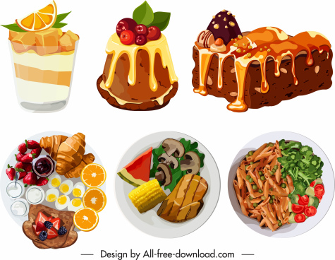 food icons colorful classic flat 3d sketch