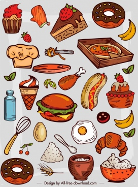 food icons colorful retro design