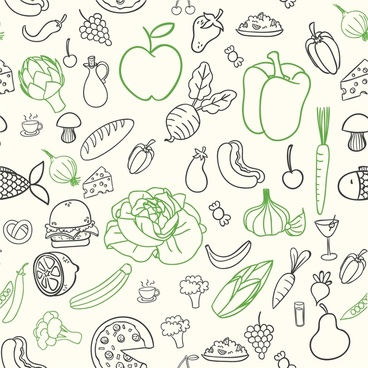 food icons illustration with sketch style