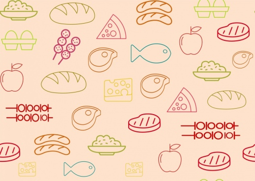 food icons pattern outline colorful repeating design