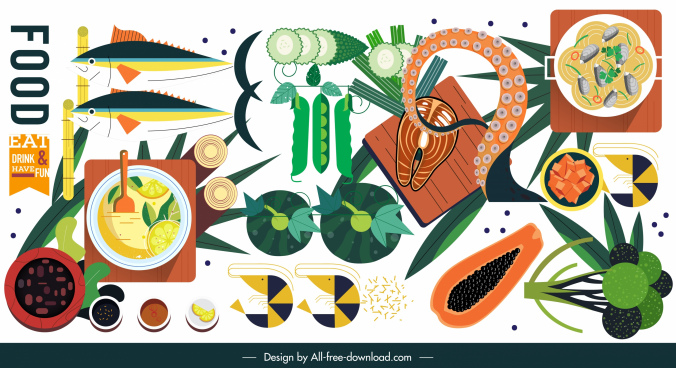 food ingredients icons colorful flat classical design