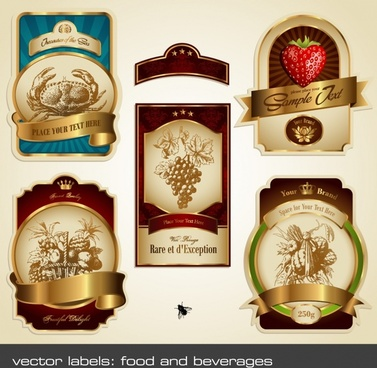 food label templates fruits crab icons modern design