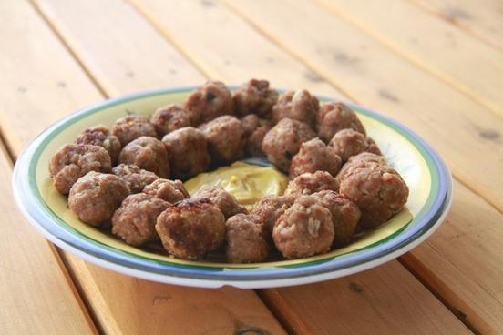 food meat balls mustard