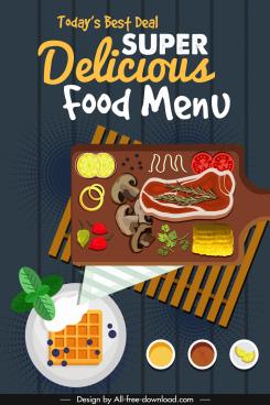 food menu cover template flat sketch classic elegance