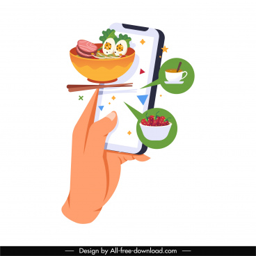 food ordering application icon hand smartphone cuisines sketch