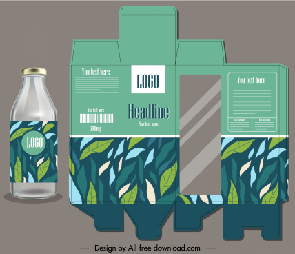 food package label template handdrawn green leaves decor