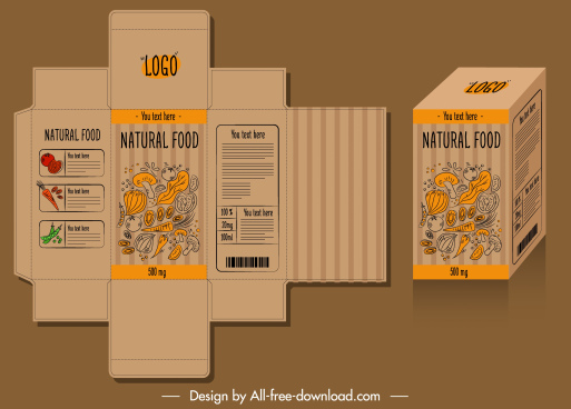 food package template elegant retro handdrawn 3d sketch