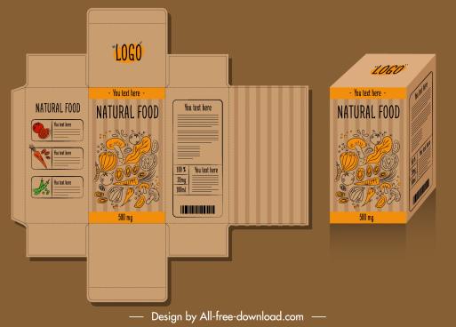 food package template elegant retro handdrawn 3d sketch